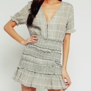 Olivaceous Smocked Ruffle Windowpane Mini Dress